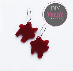 DIY: Acrylic handmade puzzle earring