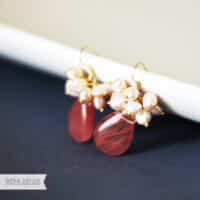 Cherry Quartz Freshwater Pearl Earring