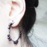 Oxidized Sterling Silver Garnet Hoop Earring