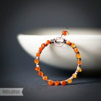 Sterling Silver Carnelian Ring Necklace