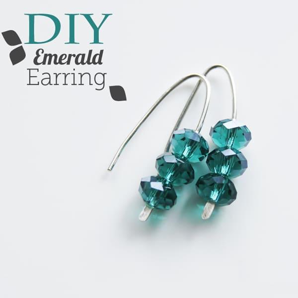 emerald wire earring
