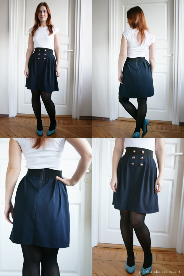 navy pleated skirt collage