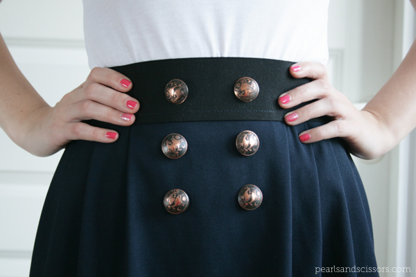 navy skirt close up