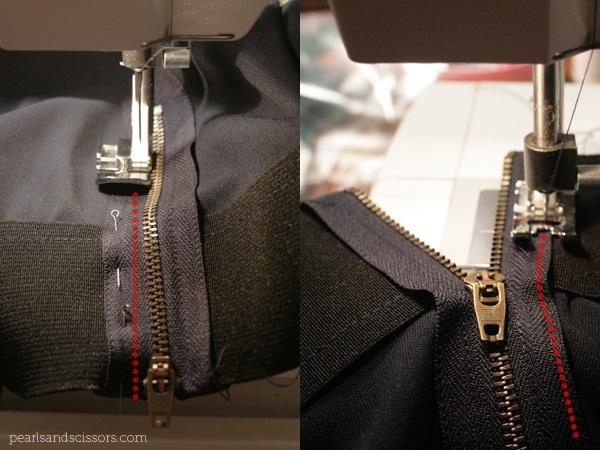 putting in the zipper