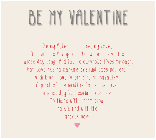 be my valentine poems