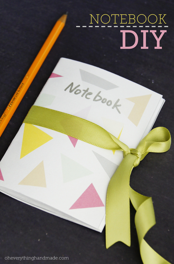 simple mini notebook with printed design cover, machine stitched spine and ribbon tie