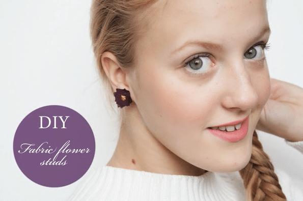 DIY Recycled fabric flower stud earrings