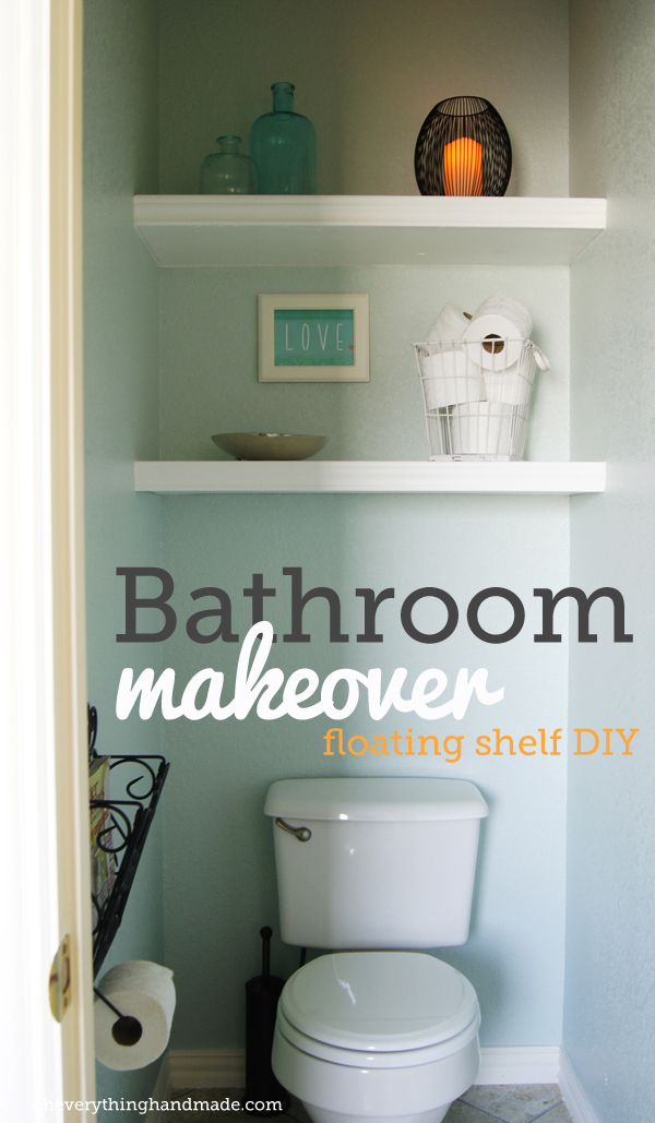 Finished bathroom makeover | floating shelves DIY