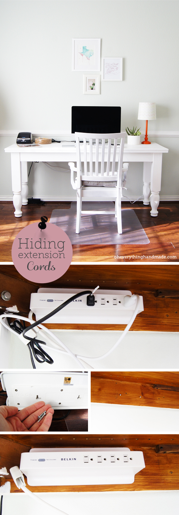 DIY // Hiding extension cords