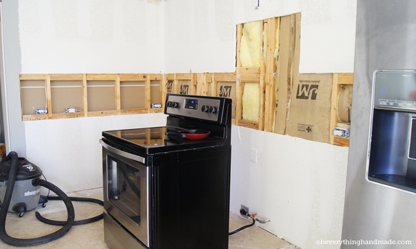 Kitchen without any Cabinets and a big hole