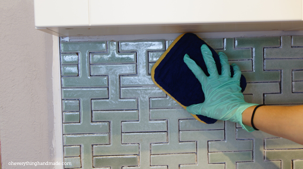 Clean tile before applying grout