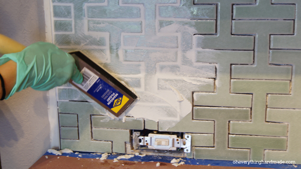 Apply grout in a 45 degree angle