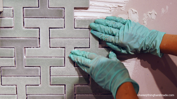 Press the tile into the thin-set with light pressure.