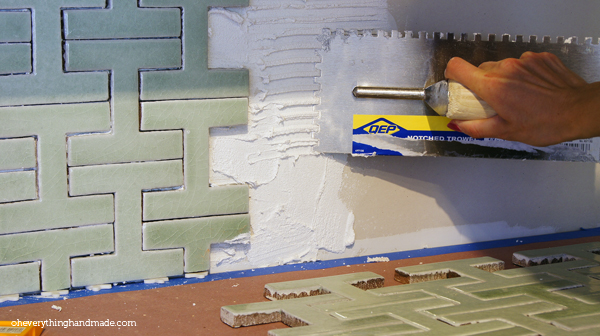 """Apply the 1/4"""" grout with your trowel"""