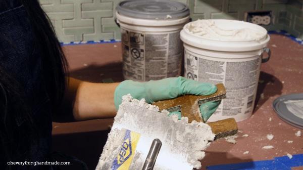 back-buttering tile step 1