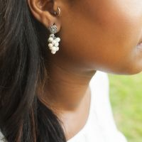 Oxidized Sterling Silver Freshwater Pearl Cascade Earring