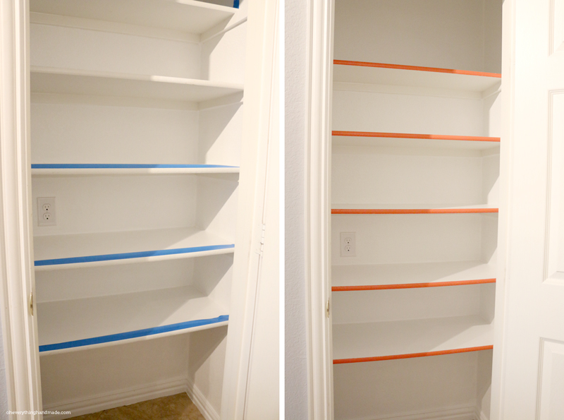 Prepping to paint a stripe of color to the shelfs