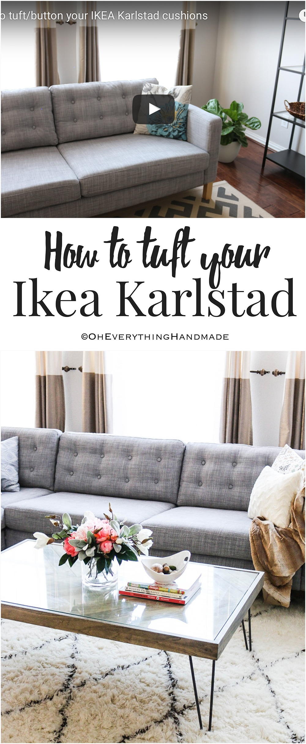 How to tuft button your IKEA Karlstad cushions Oh Everything