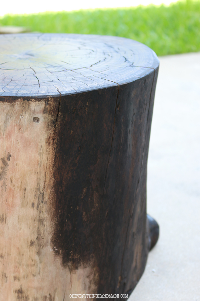 Diy wooden stump side table oh everything handmade for Diy wood stump side table