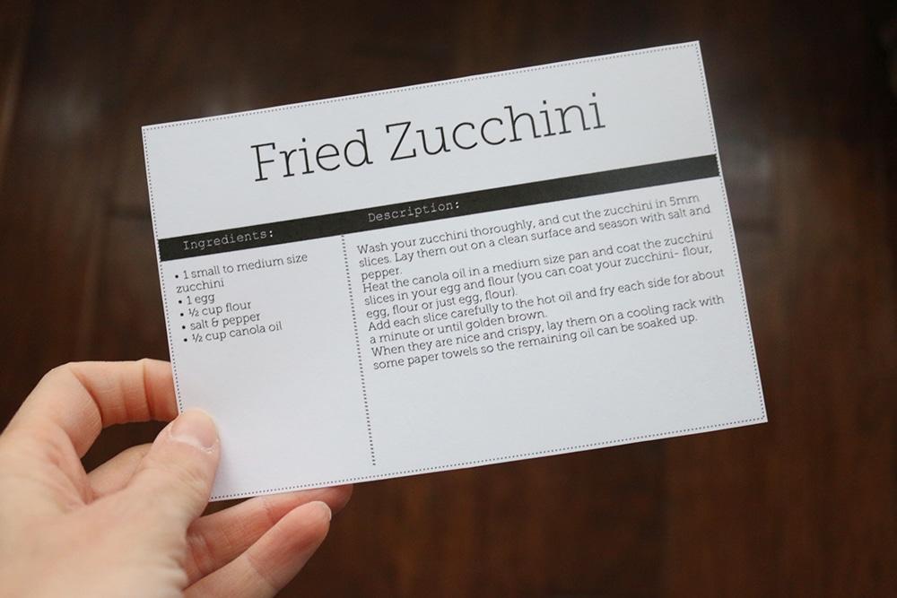 Recipe Card Black and white