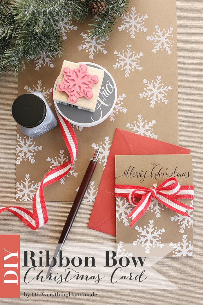Ribbon Bow Christmas Card DIY 700