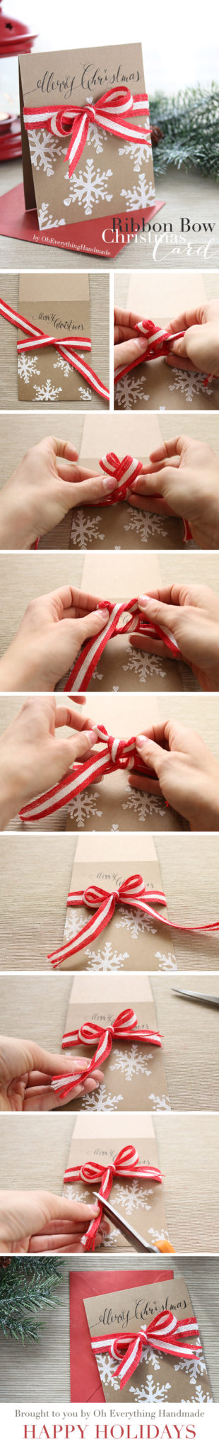 Ribbon Bow Christmas Card DIY by OhEverythingHandmade - Pin