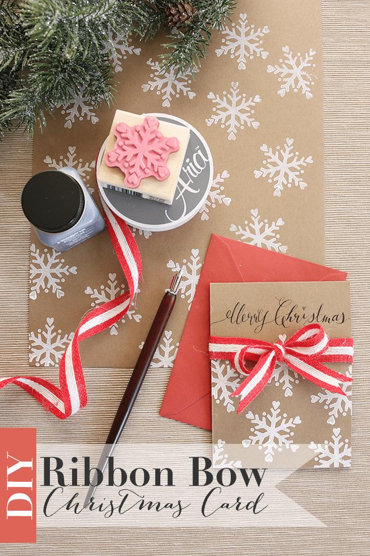 Ribbon Bow Christmas Card DIY