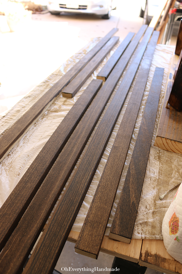 Ikea Karlstad Tapered leg and skirt tutorial - staining the boards