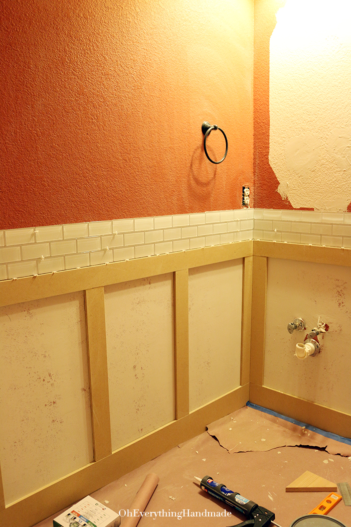 Powder Room Reveal-installed Glass tile