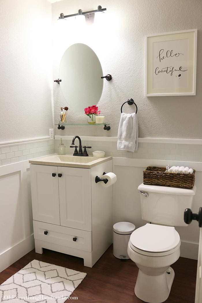 Reveal Powder Room Makeover Oh Everything Handmade