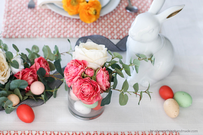Floral Easter Table Setting - Easter bunny cookie jar