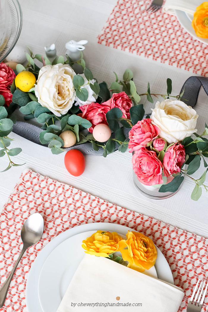 Floral Easter Table Setting - decor from above