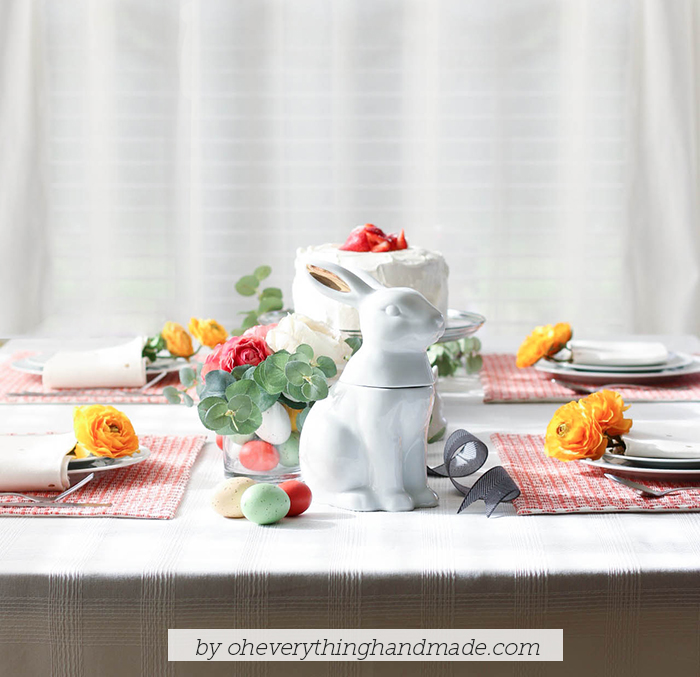 Floral Easter Table Setting - front view