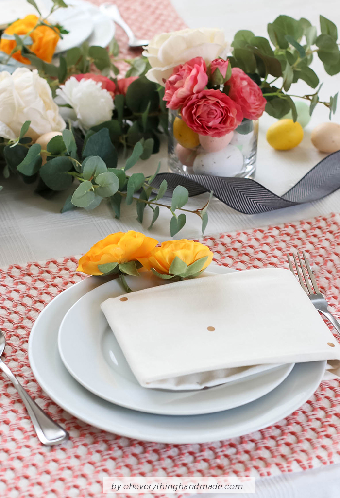 Floral Easter Table Setting - plates