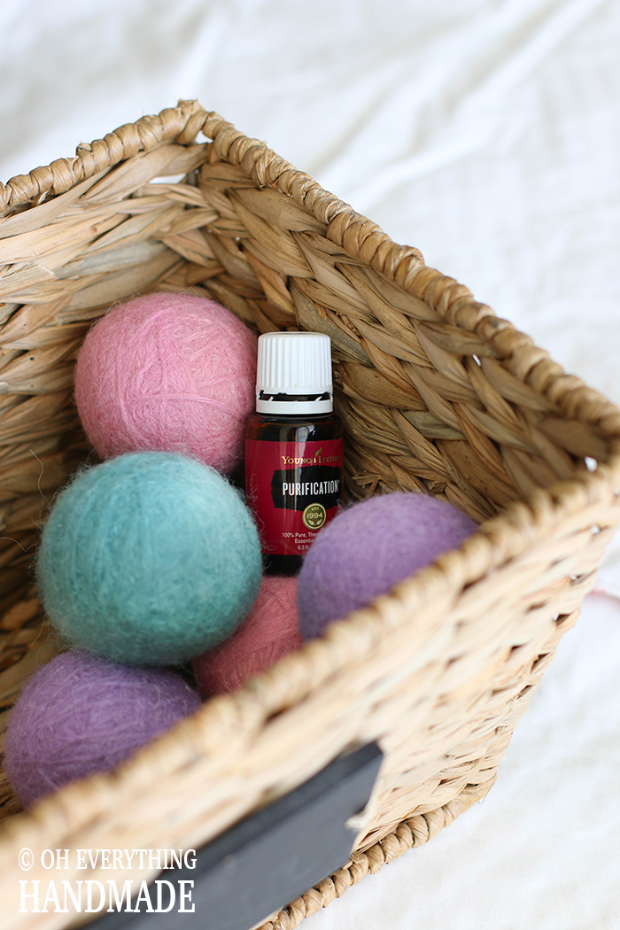 DIY with Essential Oils - Dryer balls IN A BASKET