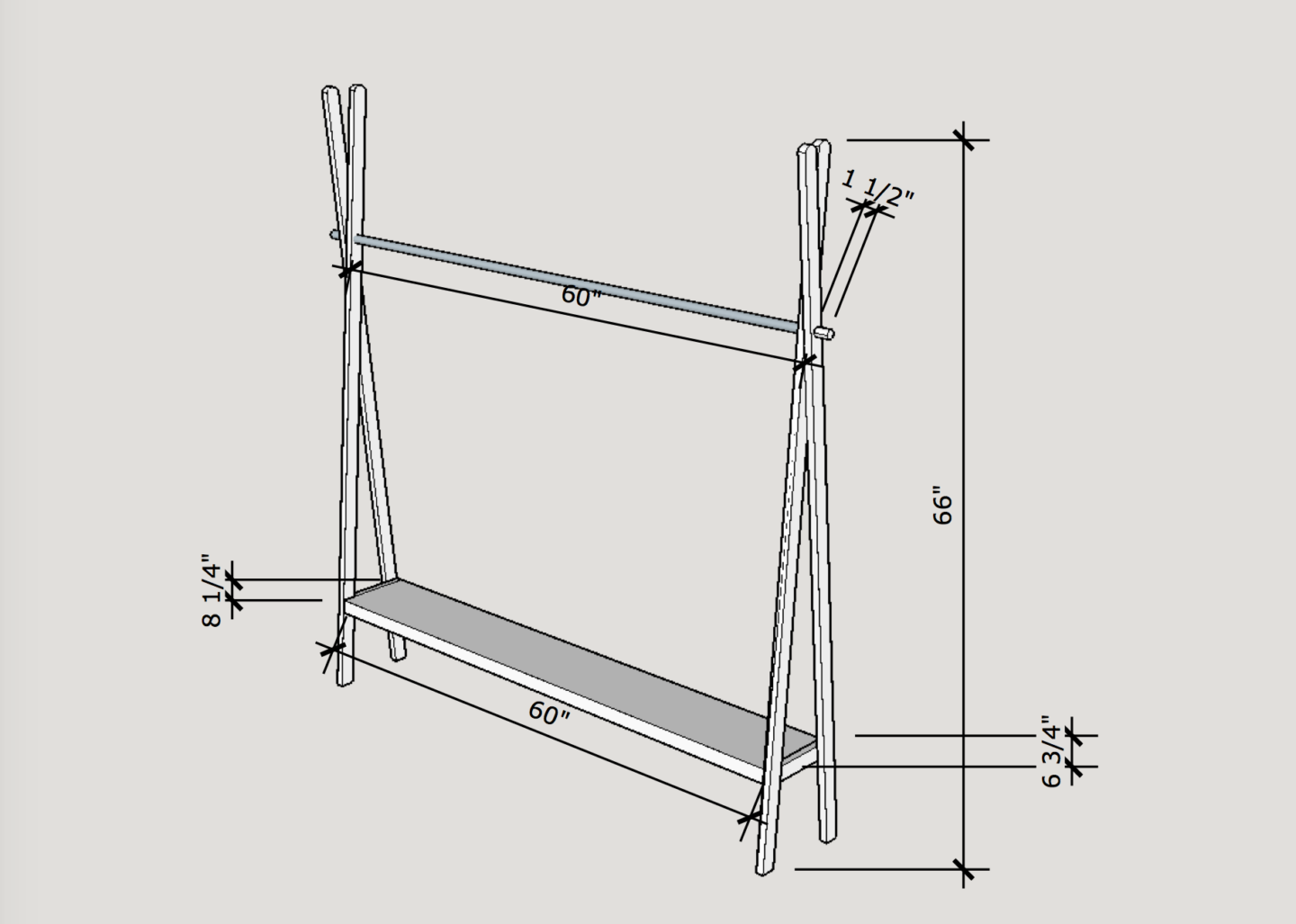 Open clothing rack - Plan by OhEverythingHandmade