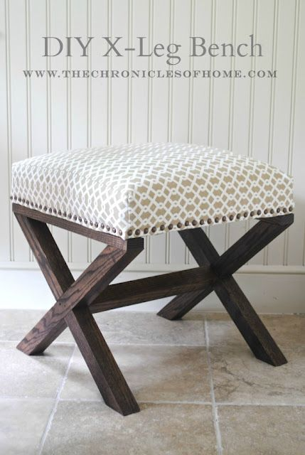 X Leg Upholstered Bench by TheChroniclesOfHome