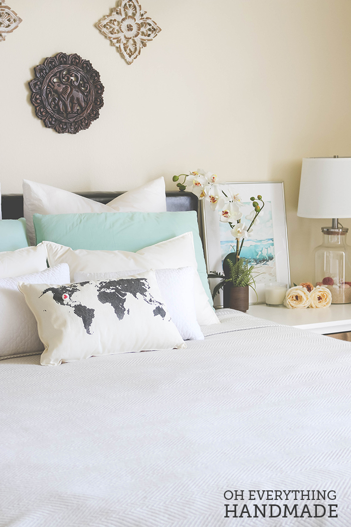 Romantic Bedroom Reveal - UncommonGoods Bedding Pillows