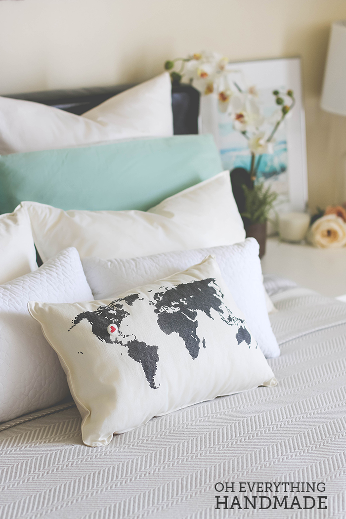 Romantic Bedroom Reveal - UncommonGoods Pillow Feature