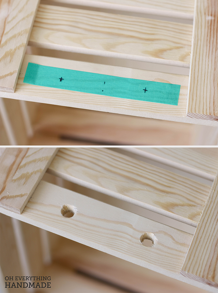 Toy Crate on Wheels - Drill holes for rope