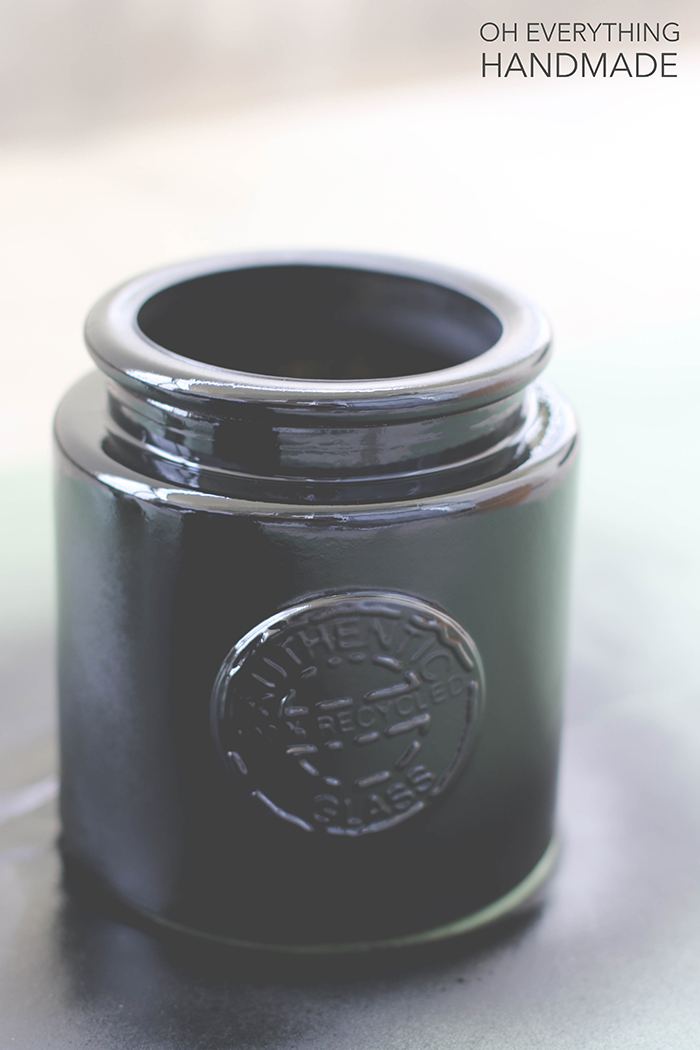 chalkboard painted glass jar - after two coats of chalkpaint