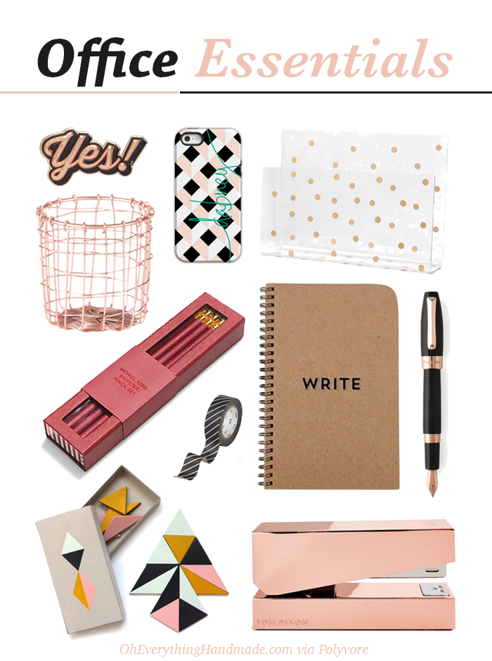 Rose Gold Office Essentials Free Brush Lettering Printable