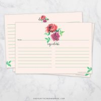 Recipe Card 4x6 Rose Watercolor