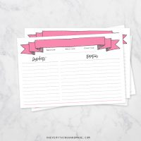 Recipe Card -Pink Banner