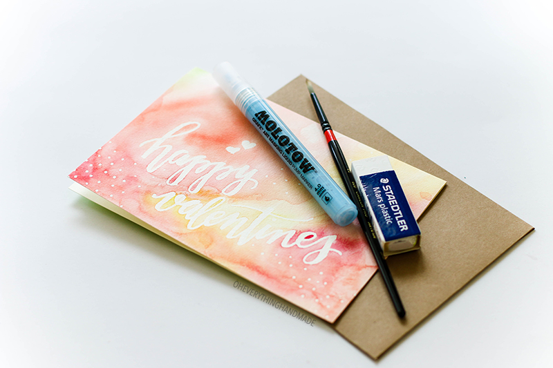 happy valentines watercolor card » oh everything handmade