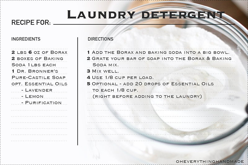 Laundry Detergent - with Essential Oils - Recipe Card