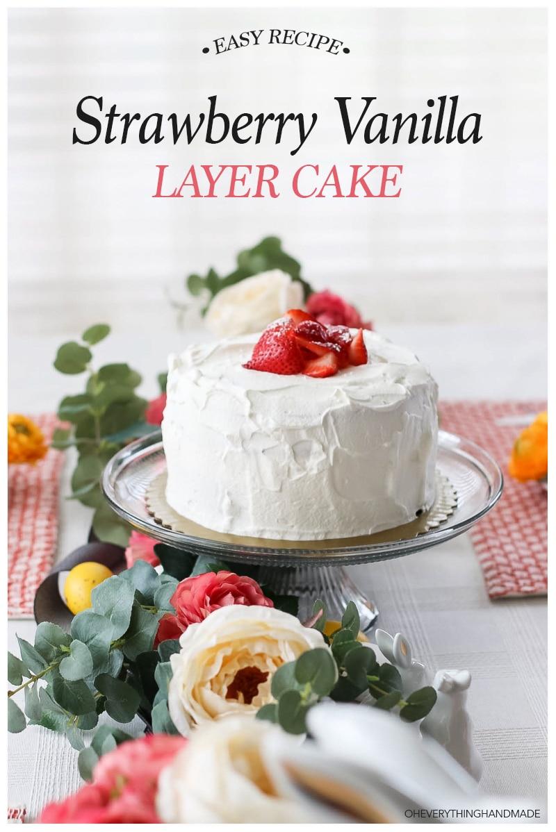 Strawberry Vanilla Layer Cake-feature