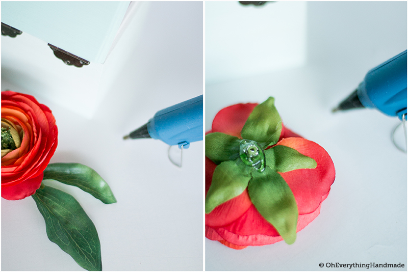 DIY Allowance box - glue on the flower