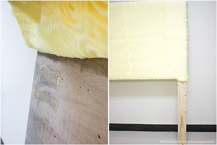 Headboard under $100 via Oheveryhinghandmade-Spray glue to the plywood