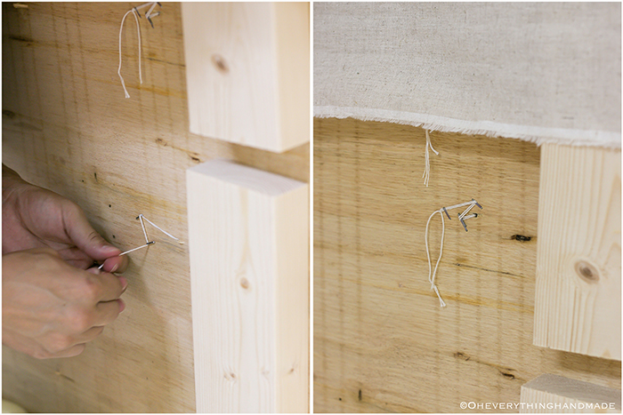 Headboard under $100 via Oheveryhinghandmade-lay fabric on top and secure buttons to the back